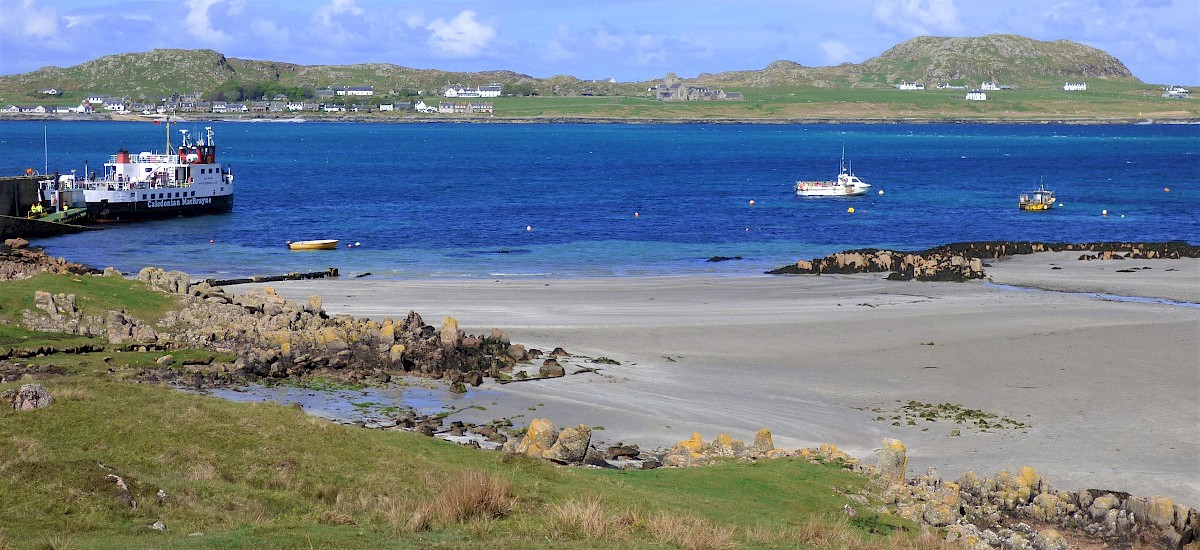 "The powder white sands of Fionnphort Bay looking to Iona Abbey, 2 minutes from ""The Bothy"" accommodation"