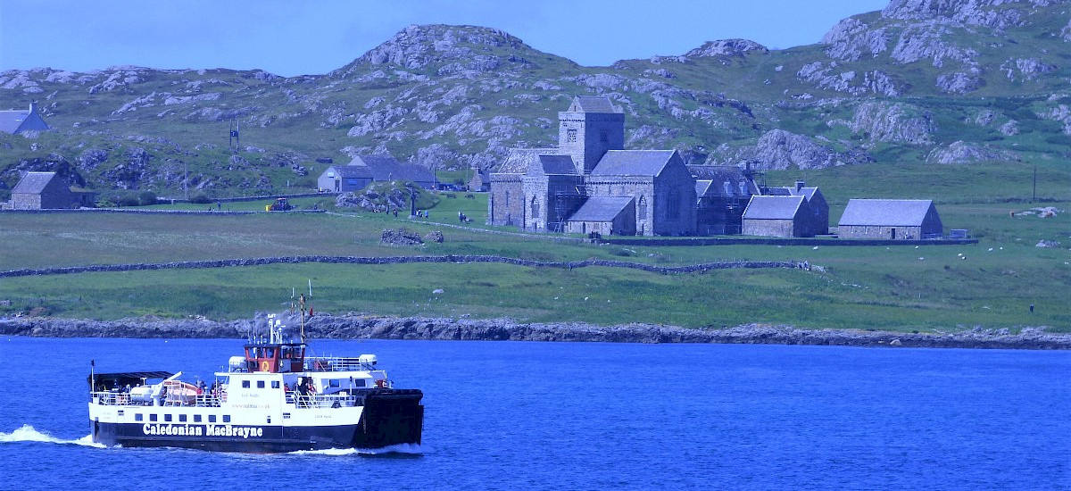 The Fionnphort Ferry with the Isle of Iona and Abbey behind it, and only a 5 minute voyage to Iona from Fionnphort!