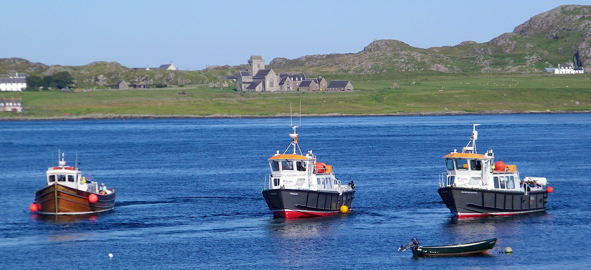 "Our Isles of Staffa and Lunga ferry boats leave Fionnphort April to October daily from Fionnphort pier 2 minutes from ""The Bothy""."